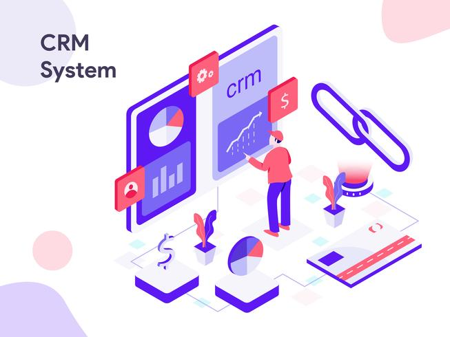 crm system isometric illustration modern flat design style for website and mobile website vector illustration